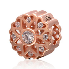 18K Rose Gold Plated White Zircon Micro Pave Sterling Silver Hollow Round Beads Fit European Charm Bracelet Necklace SGPB4108