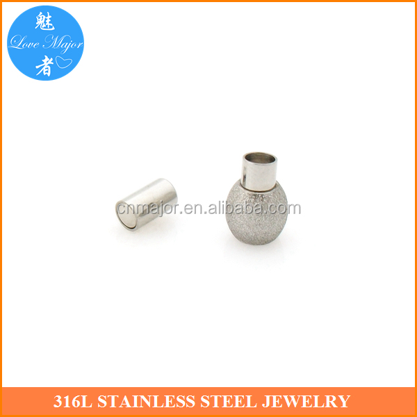 2-Tone Stainless steel Polished Magnetic Clasp Tube Glue in Cord Ends 3mm*16mm