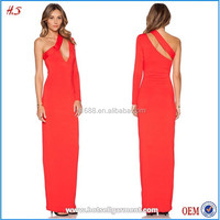 2015 The latest maxi design one long sleeve evening dress/evening gown HS40085
