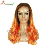 cheap synthtic lace front wig ombred color for women long inches body wave synthetic front lace wigs