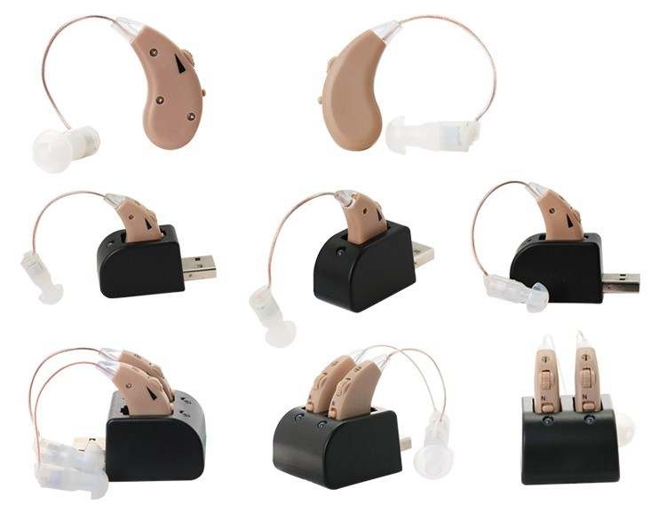 USB Charging Base BTE Sound Amplifier Rechargeable Ear Hearing Aid