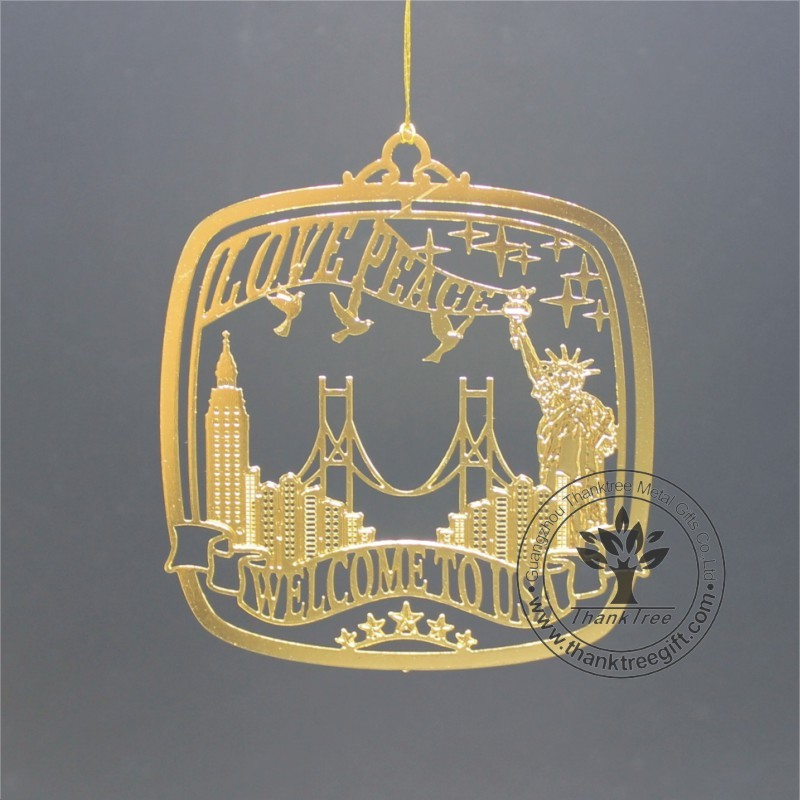 United State custom brass etched ornament