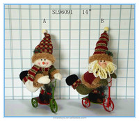 New Christmas decor and gifts santa clau stuffed snowman on Metal Trike