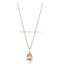 Sterling Silver Morganite Pear shape Pendant Necklace