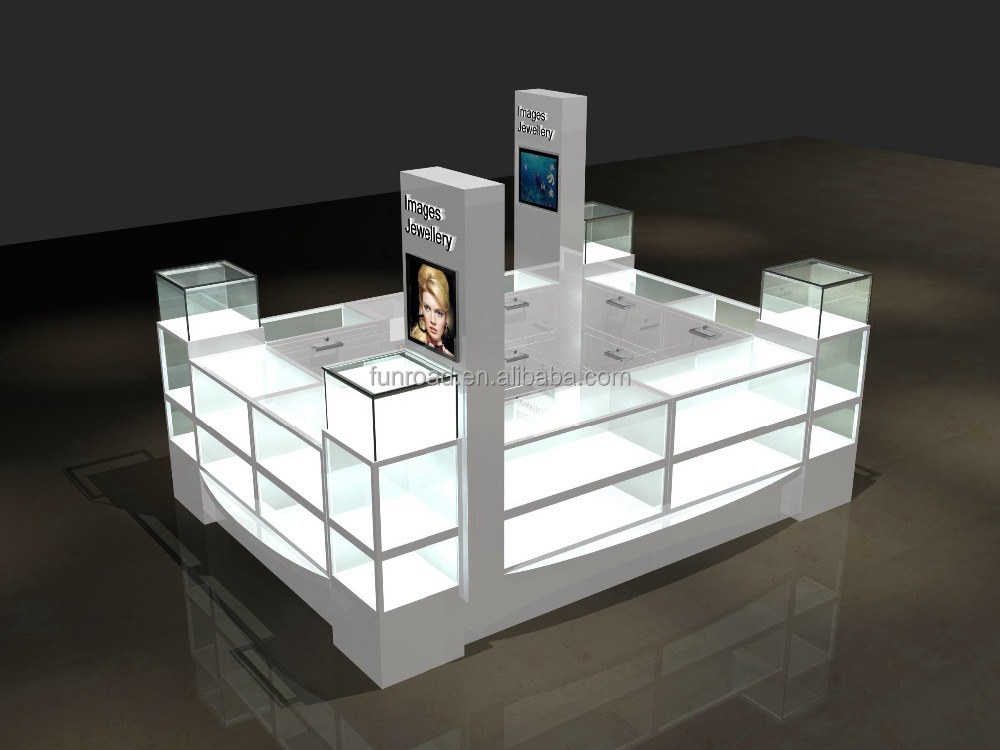 LED lighted jewelery display showcase modern jewelry cabinet jewelry kiosk for sale