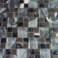 8mm thickness stainless steel mix crystal glass mosaic tile