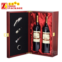China Hot sale colour red wooden wine packaging box