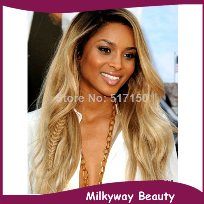 Free shipping kim kardashian #4/#27HRM#613 black blonde medium brown mix color heat resistant synthetic lace front wig