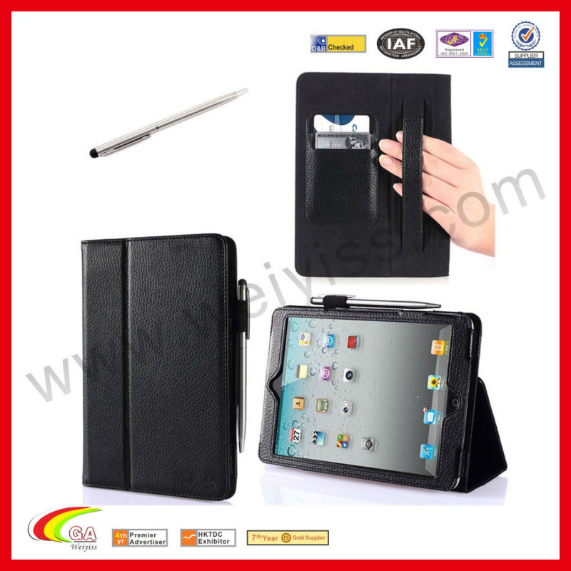 Elastic Hand Strap, Multi-Angle, Card Slots With Bonus Stylus Auto Wake / Sleep Smart Cover Case for iPad Mini Case 7.9 Inch
