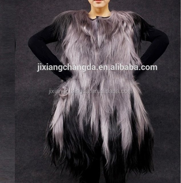 Women long hair real goat fur vest waistcoat wholesale