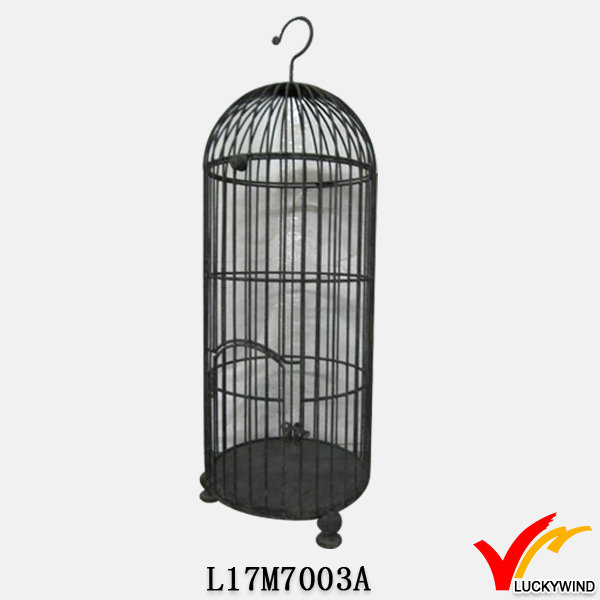 recycle black antique hanging round metal bird cage