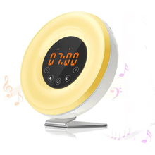 7 Color Changing FM Alarm Clock Radio Bedside Table Lamp