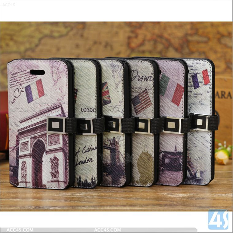 Tower Retro Luxury PU Leather Cases For iphone5c Protective Skin Protector Covers Mate iphone 5c Flip Cover Folio Case