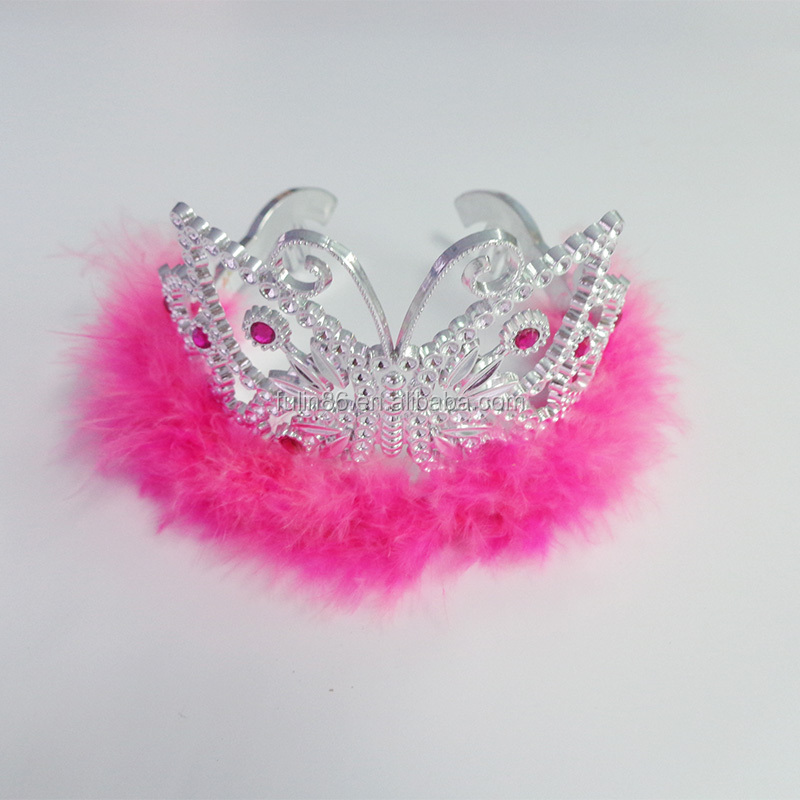 new design lovely plastic baby cosplay tiara crown with fur