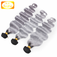 2016 new arrival 8-30 inches 100 human hair weave body wave ombre color hair grey and black ombre hair extensions