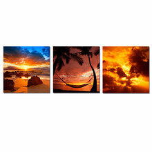 Hawaii Seascape Canvas Wall Art/Vibrant Sunset Pictures Giclee Print on Canvas/Maui Scenery Wall Art