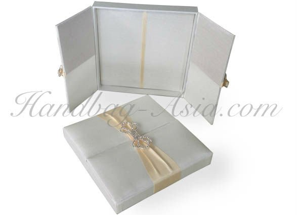 "Silk Invitation Box ""Ivory & Rhinestone Clasp"""