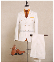 High Quality Customized Made Double Breast Slim Fit Wool Mans Suits Side Vent (Coat+Pants+Vest) NA13 Mens 3 Piece Suits
