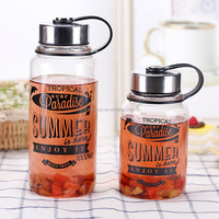 2018 new design big volume of 1000ml glass tea mug with infuser and portable lids