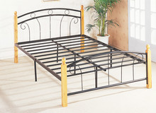 Queen Size Metal Frame Bed with Timber Posts