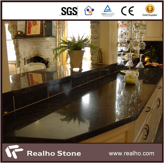 Bullnose Edging Absolute Black Granite Countertop
