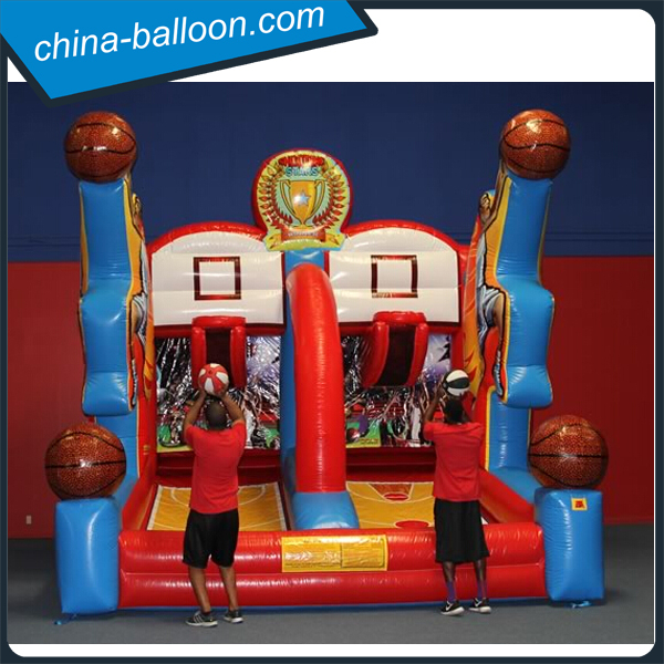 Double tracks inflatable sport game/attractive 2 player inflatable basketball shooting for family