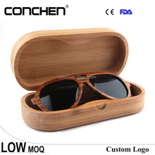 handcrafted protective engrave logo bamboo wood sunglasses case