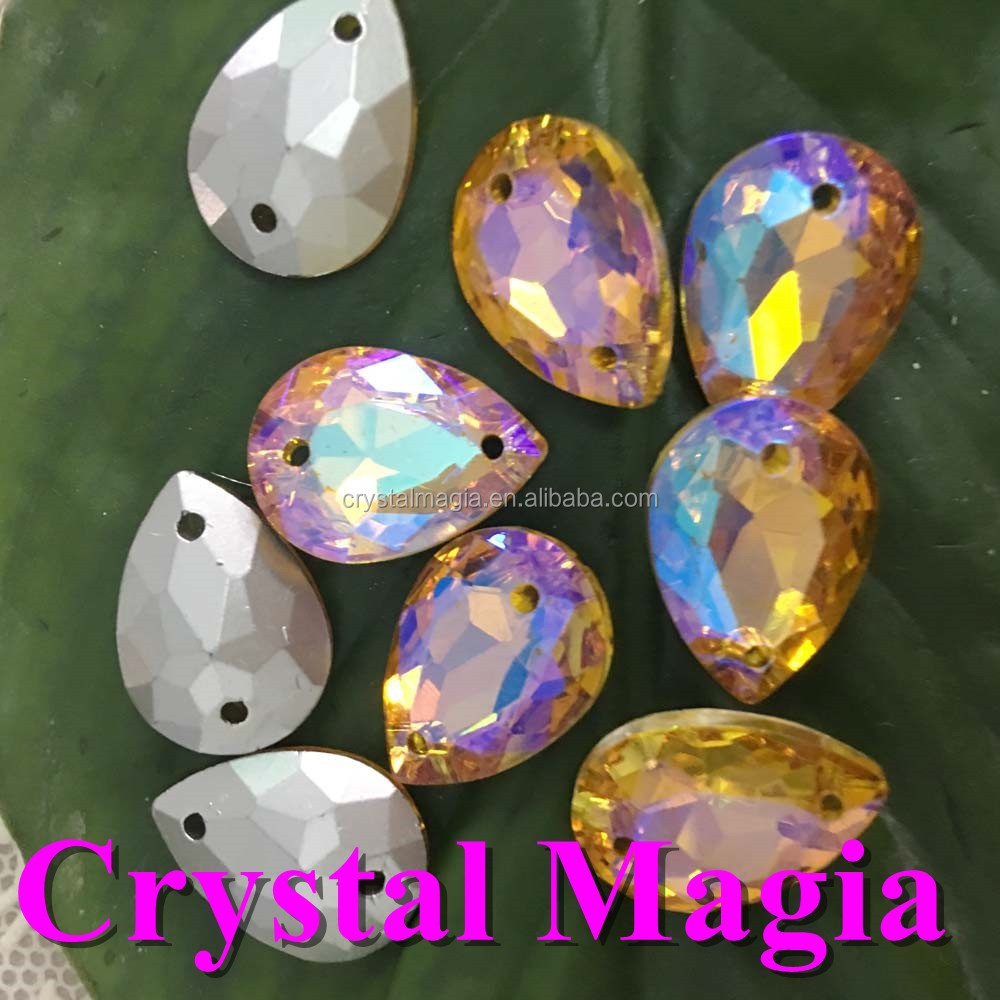 China factory crystal glass strass Topaz AB sewing rhinestone trimming