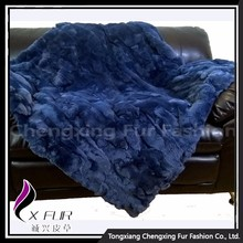 CX-D-66E 2017 Newest Custom Genuine Rex Rabbit Fur Patchwork Fur Blanket