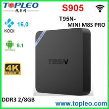 2017 Media Player with 3D Blu-ray Mali-450 Android 5.1 Tv Box S905 T95N Mini M8S+