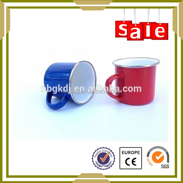 dinnerware enamel solar tube cup with SS rim