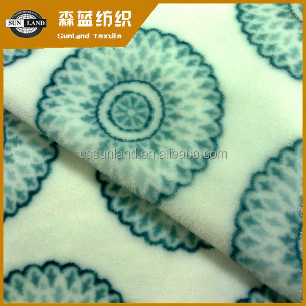 rotary screen print polyester plush fleece fabric for blanket
