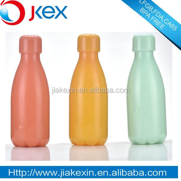 solid colored plastic drinking bottle with plastic cap