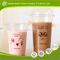22oz Clear Plastic Cup Take Away Juice disposable cup with lid straw custom logo cups
