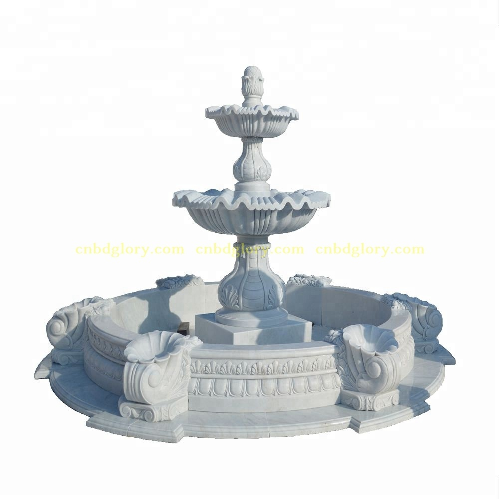 Outdoor stone garden ornaments products marble water fountain with horse