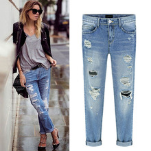 New Fashion Women Casual Slim Pencil Pants Skinny Ripped Jeans Denim Trousers #SV021654