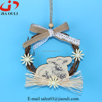 with sheep rattan wreath Easter decorations