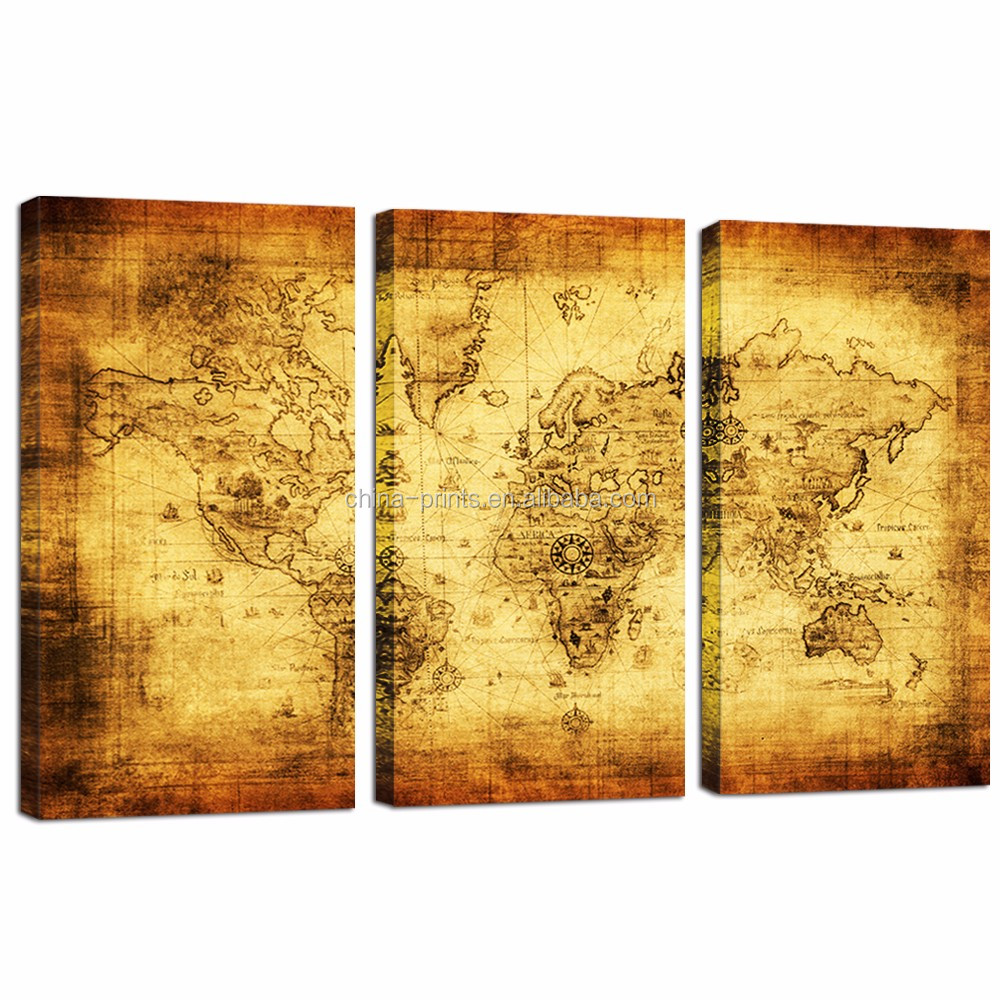 Large Size Old Map Canvas Print/Retro World Map Canvas/3 Panels Vintage Wall Art Decor