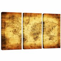 Large Size Old Map Canvas Print/Retro World Map Canvas/3 Panels Vintage Wall Art Decor