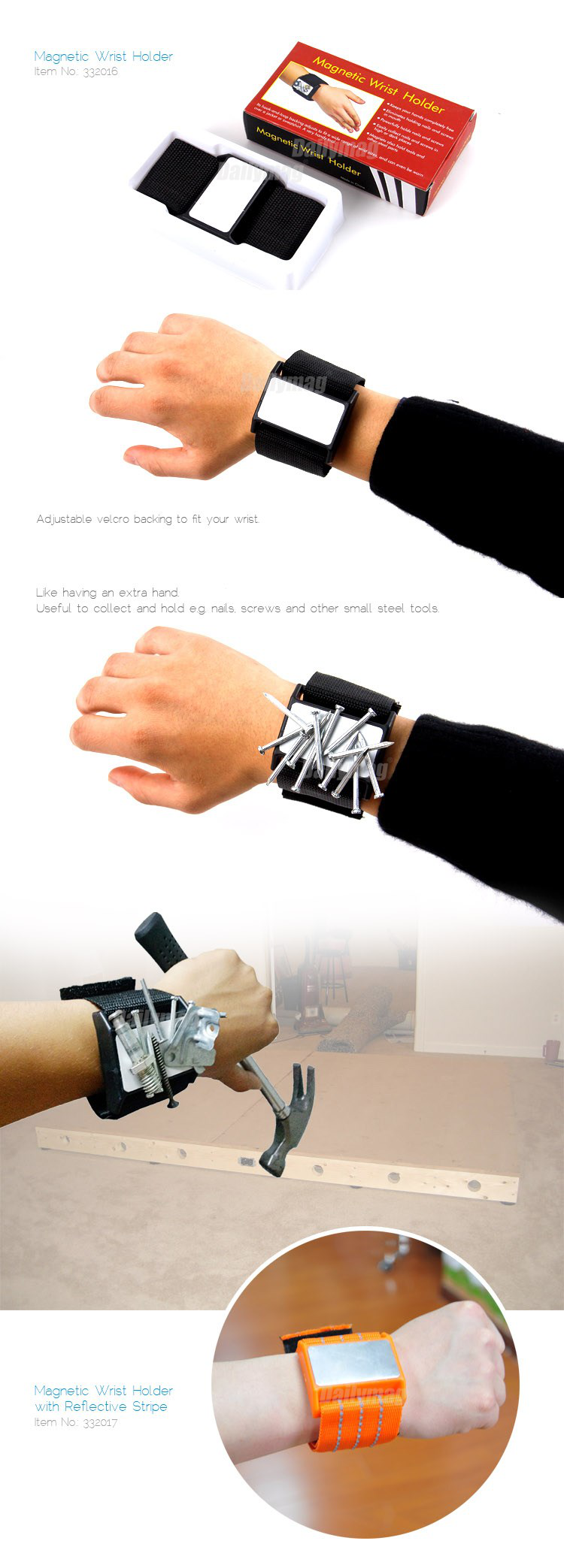 Strong Magnetic Wristband for Holding Tools, Magnetic Wristband, Magnetic Bracelet Tool