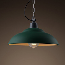 vintage wrought iron pot green cover retro Industry indoor hat Metal Pendant Lamp / pendant light