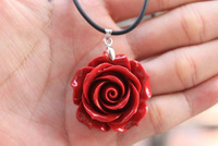 New Hot Good Quality Leather Chain Coral Tea Rose Flower Pendant Necklace