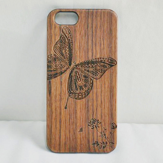 2017New Products For iphone Use Real Walnut Wood and PC Engraving Mobile Phone Cover