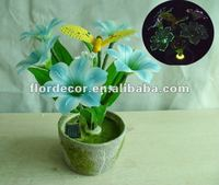 solar garden flower and bee with light solar bee light with flower pot solar garden decoration artificial flower with pot