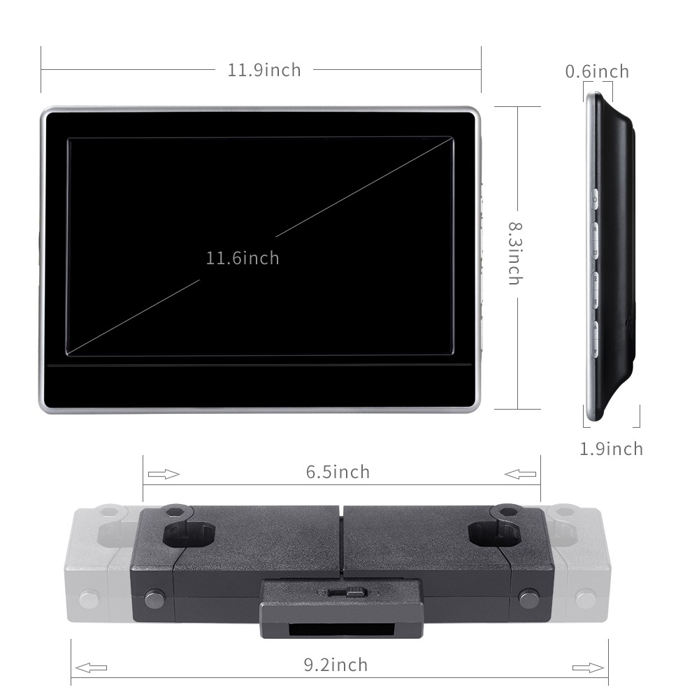 Chinese factory car headrest mount portable dvd player for vezel bracket monitor with input