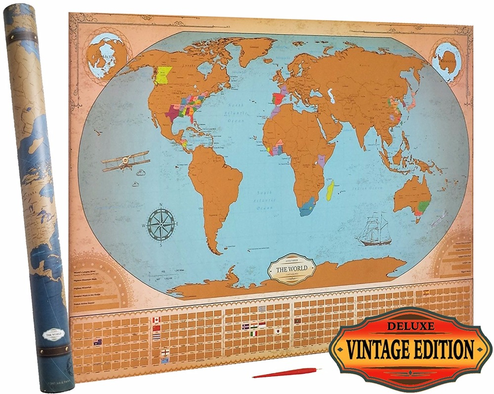 Deluxe Scratch Off World Map - Vintage Edition - States & Provinces ...