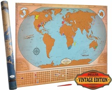 Deluxe Scratch Off World Map - Vintage Edition - States & Provinces for US, Canada, Australia - XL Large Poster 24x36 AMA-20