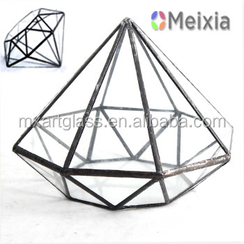 MX130085 Clear Glass Diamond Indoor Plant Terrarium for home decro