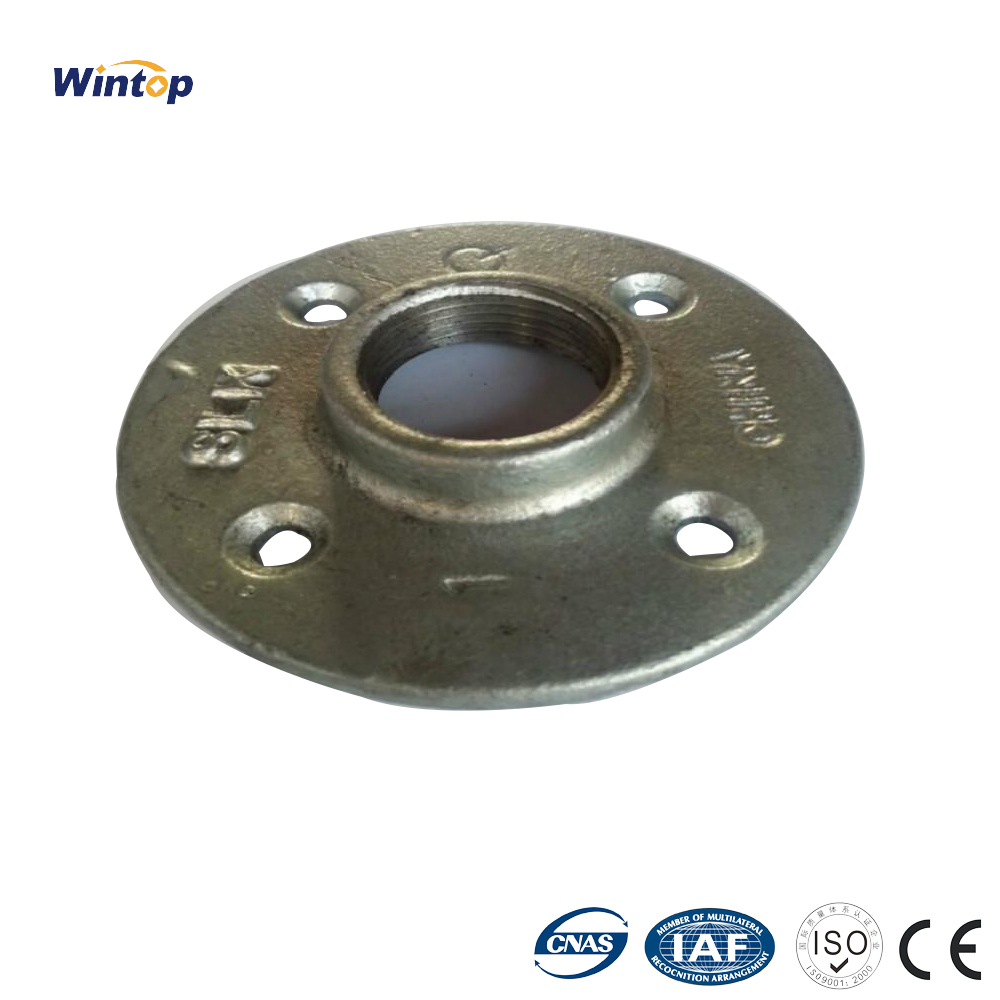 Malleable Threaded Floor Flange Iron Industrial Pipe Fittings Wall Mountcast iron flange