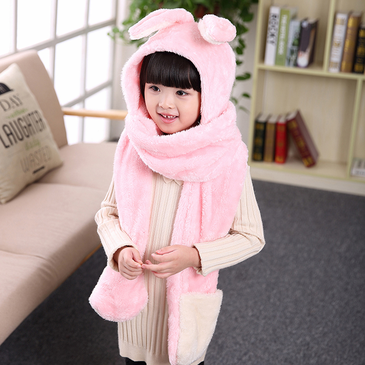 Animal style baby girls winter warm coral velvet muffler scarf with hat and gloves